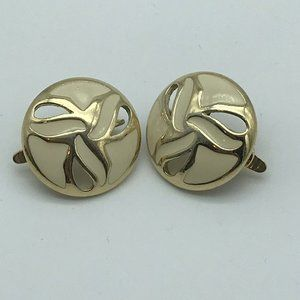 Signed Trifari TM Clip On Earrings Round Gold Tone